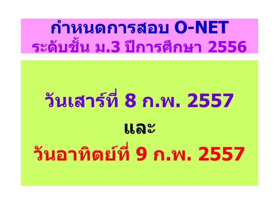 กำหนดการสอบ O-NET ระดับชั้น ม.3 ปีการศึกษา 2556