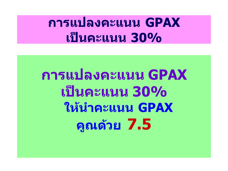 การแปลงคะแนน GPAX เป็นคะแนน 30%