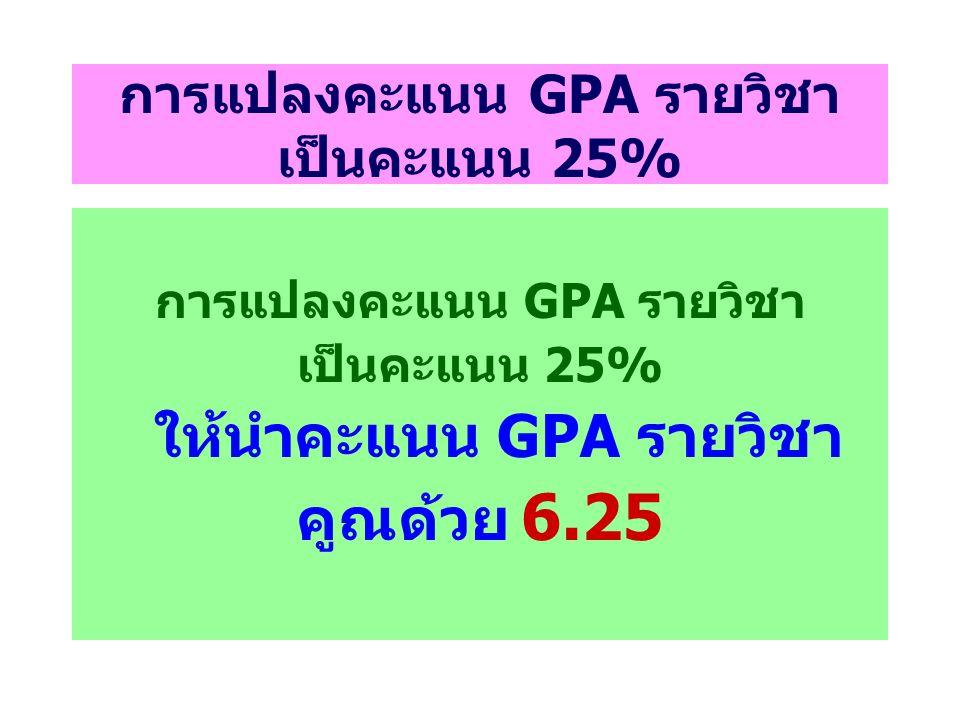 การแปลงคะแนน GPA รายวิชา เป็นคะแนน 25%