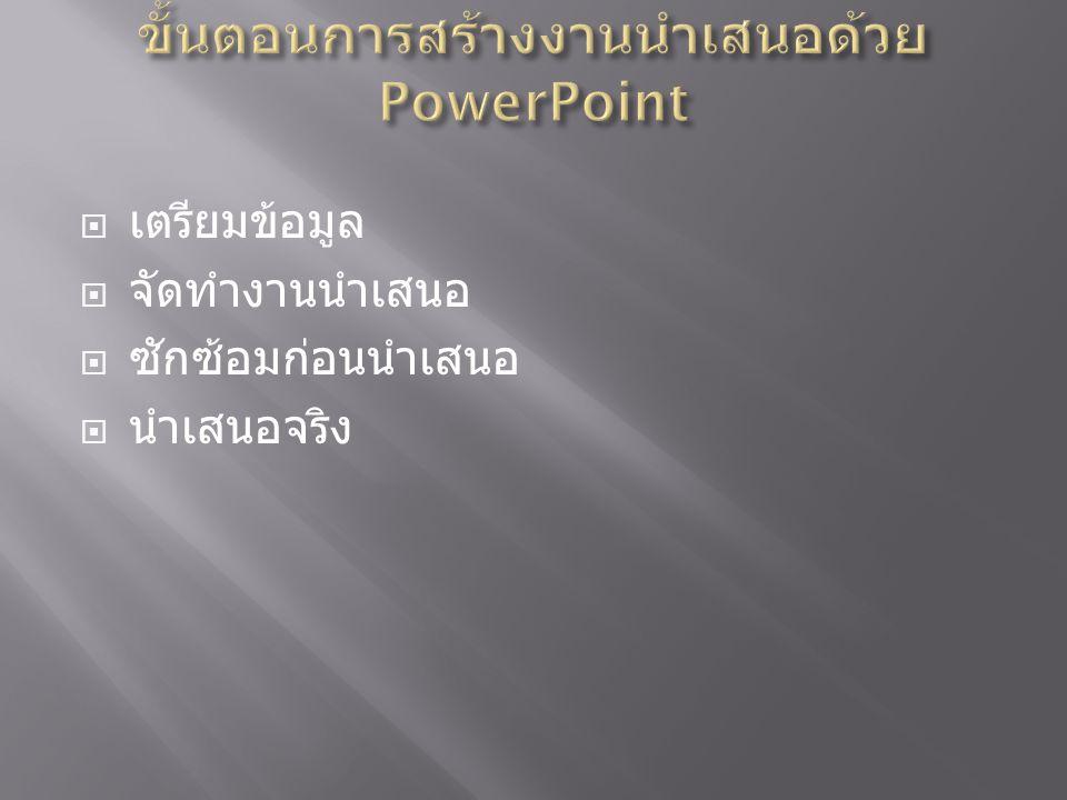 ขั้นตอนการสร้างงานนำเสนอด้วย PowerPoint