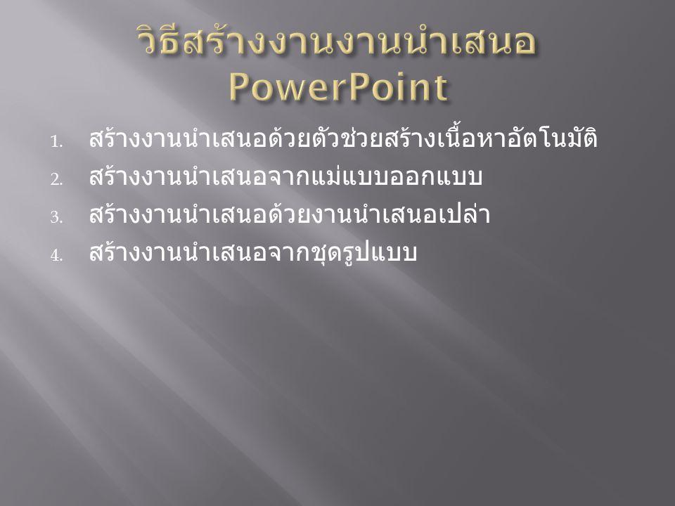 วิธีสร้างงานงานนำเสนอ PowerPoint