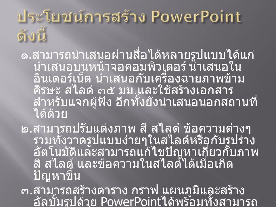 ประโยชน์การสร้าง PowerPoint ดังนี้