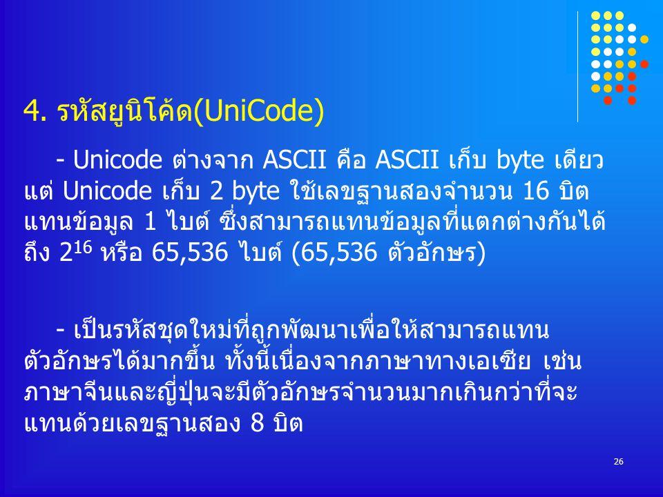 4. รหัสยูนิโค้ด(UniCode)