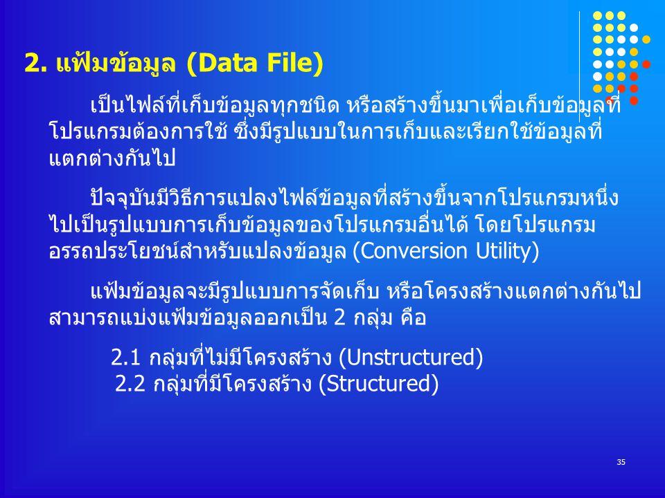 2. แฟ้มข้อมูล (Data File)