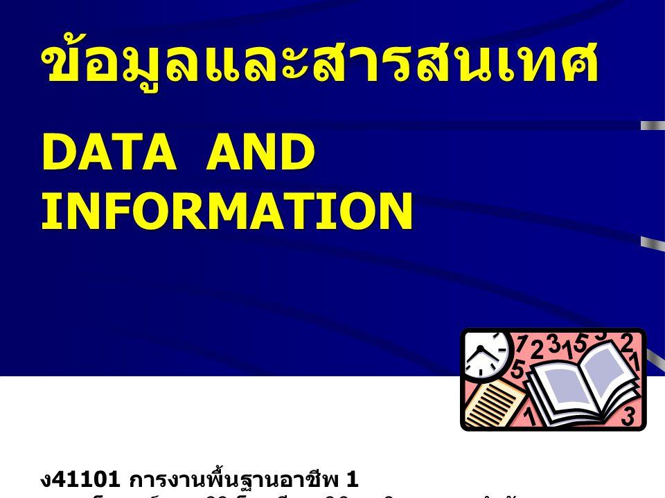 ข้อมูลและสารสนเทศ DATA AND INFORMATION ง41101 การงานพื้นฐานอาชีพ 1 ครูมาโนชญ์ แสงศิริ โรงเรียนพิจิตรพิทยาคม สำนักงานเขตพื้นที่การศึกษาพิจิตร เขต 1