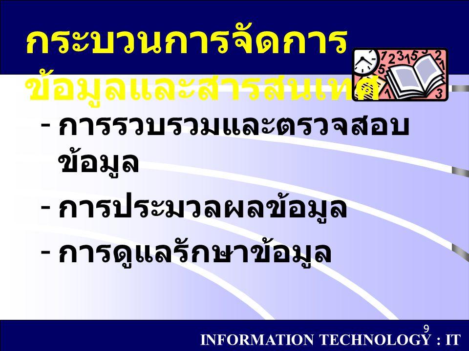 กระบวนการจัดการข้อมูลและสารสนเทศ