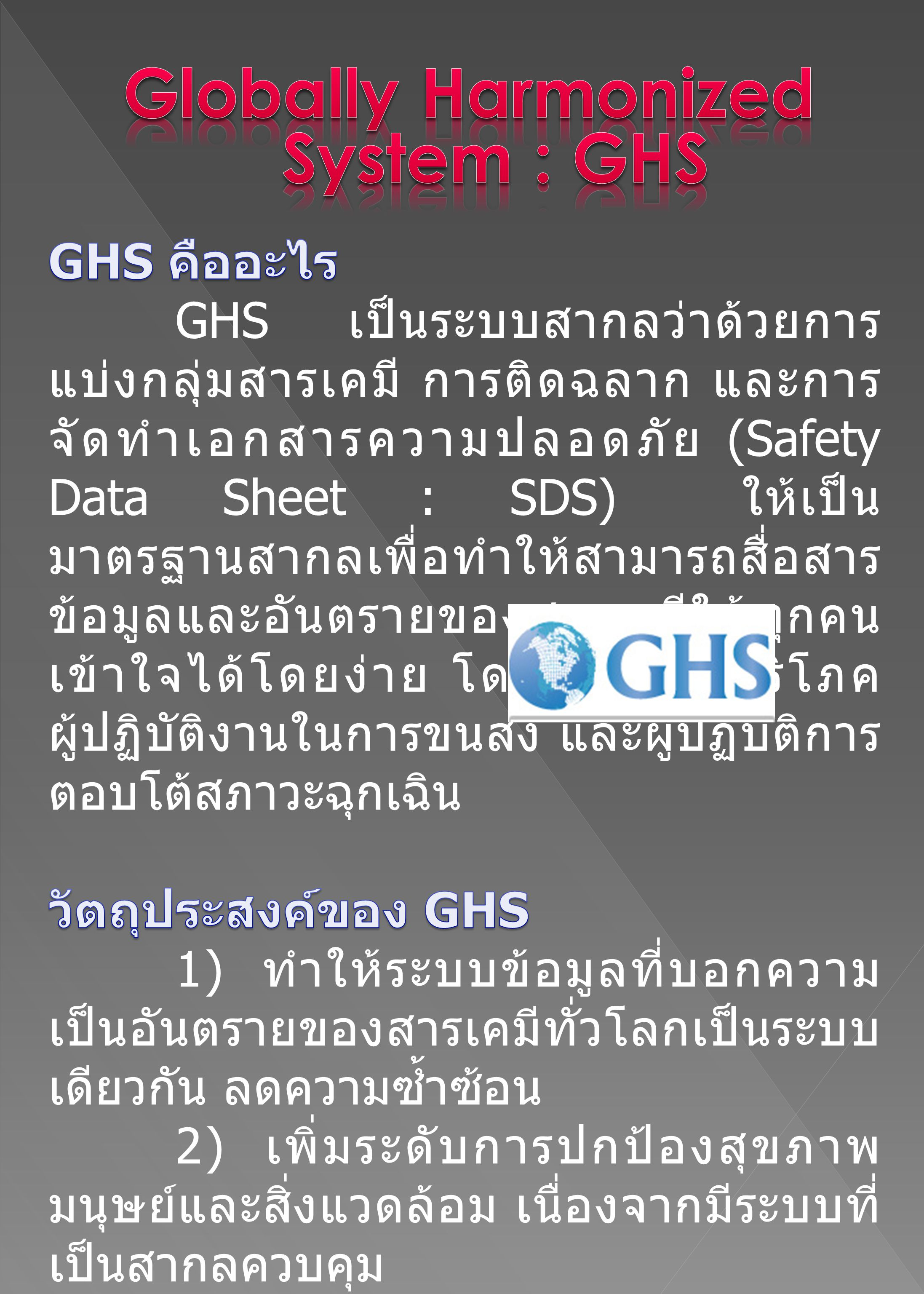 Globally Harmonized System : GHS