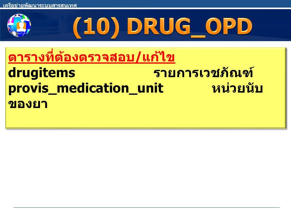 (10) DRUG_OPD ตารางที่ต้องตรวจสอบ/แก้ไข drugitems รายการเวชภัณฑ์