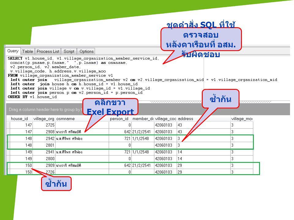 ชุดคำสั่ง SQL ที่ใช้ตรวจสอบ หลังคาเรือนที่ อสม. รับผิดชอบ