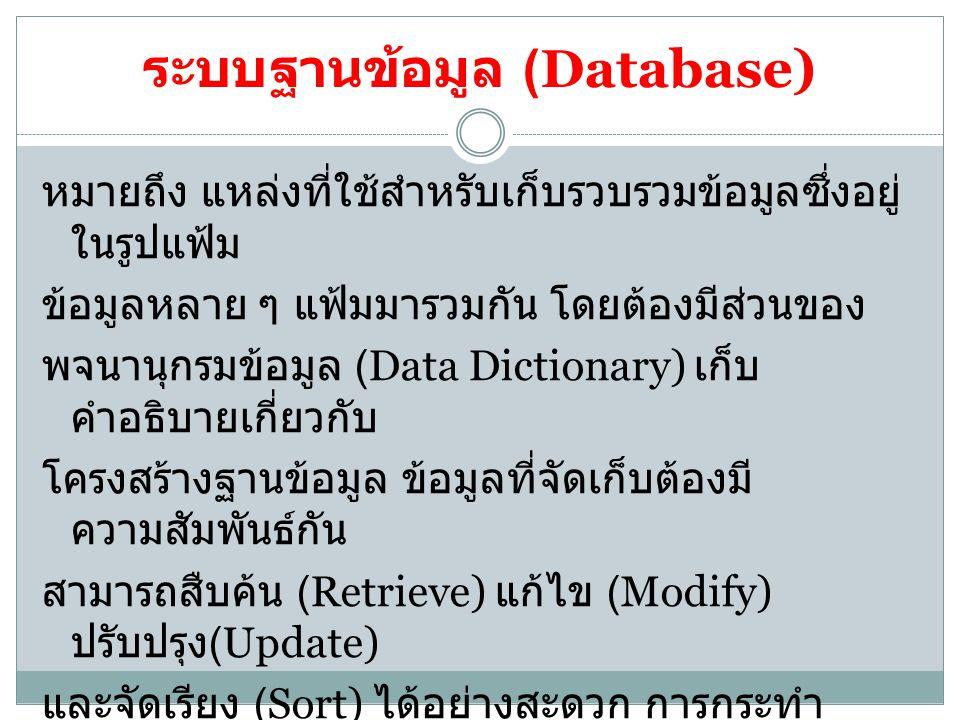 ระบบฐานข้อมูล (Database)