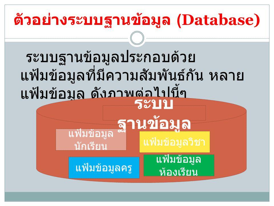 ตัวอย่างระบบฐานข้อมูล (Database)