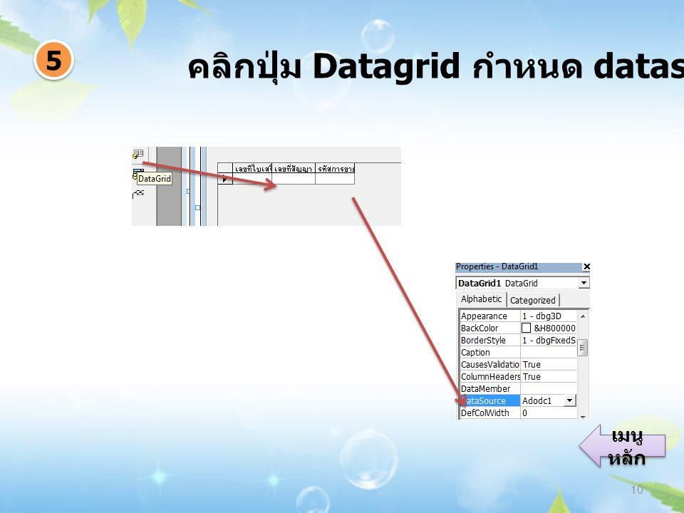 คลิกปุ่ม Datagrid กำหนด datasource