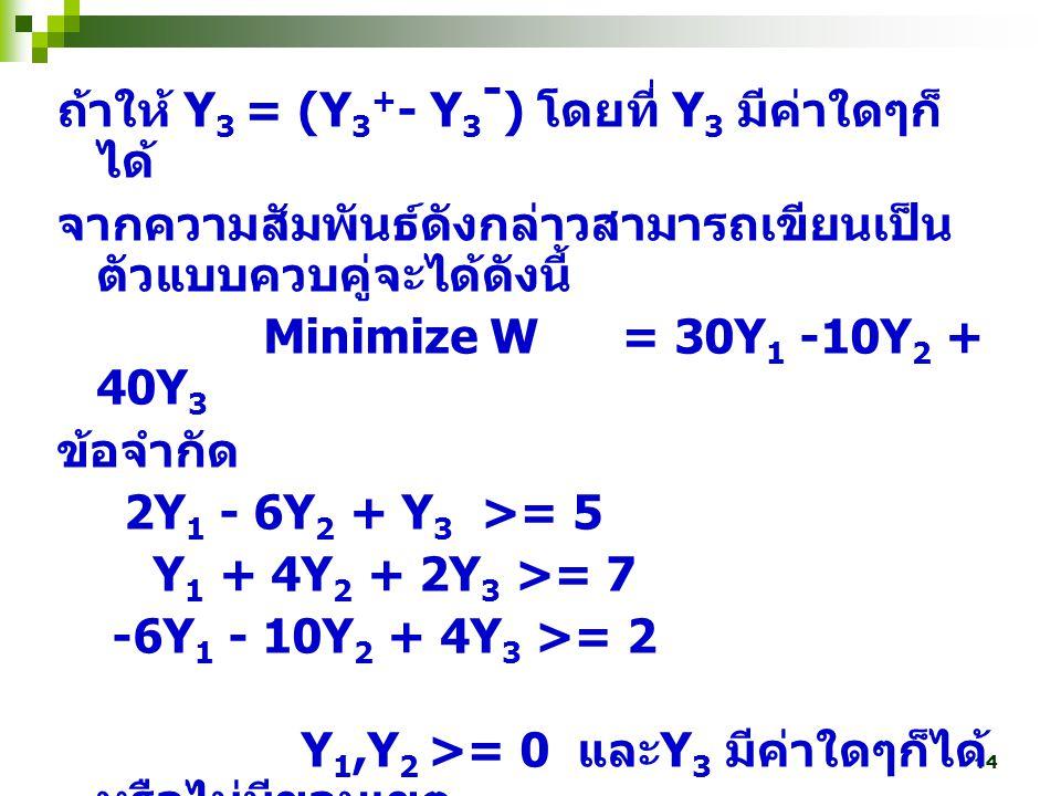 ถ้าให้ Y3 = (Y3+- Y3-) โดยที่ Y3 มีค่าใดๆก็ได้