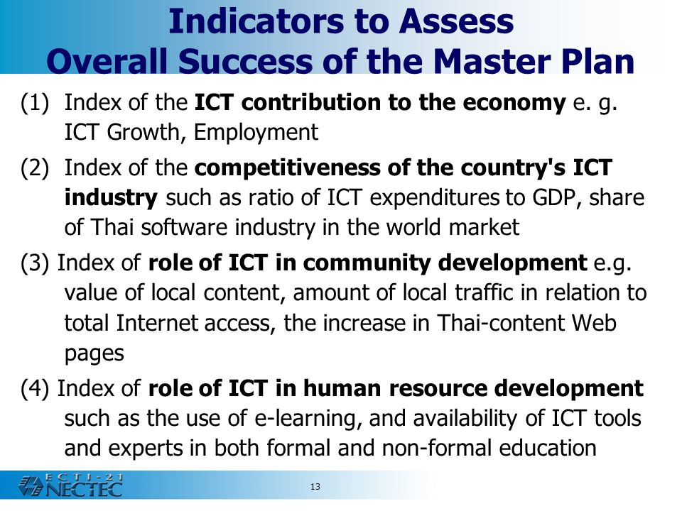 Indicators to Assess Overall Success of the Master Plan