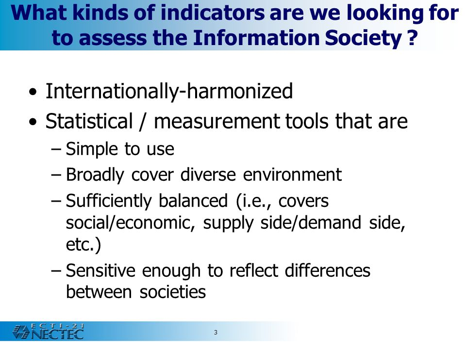 Internationally-harmonized Statistical / measurement tools that are