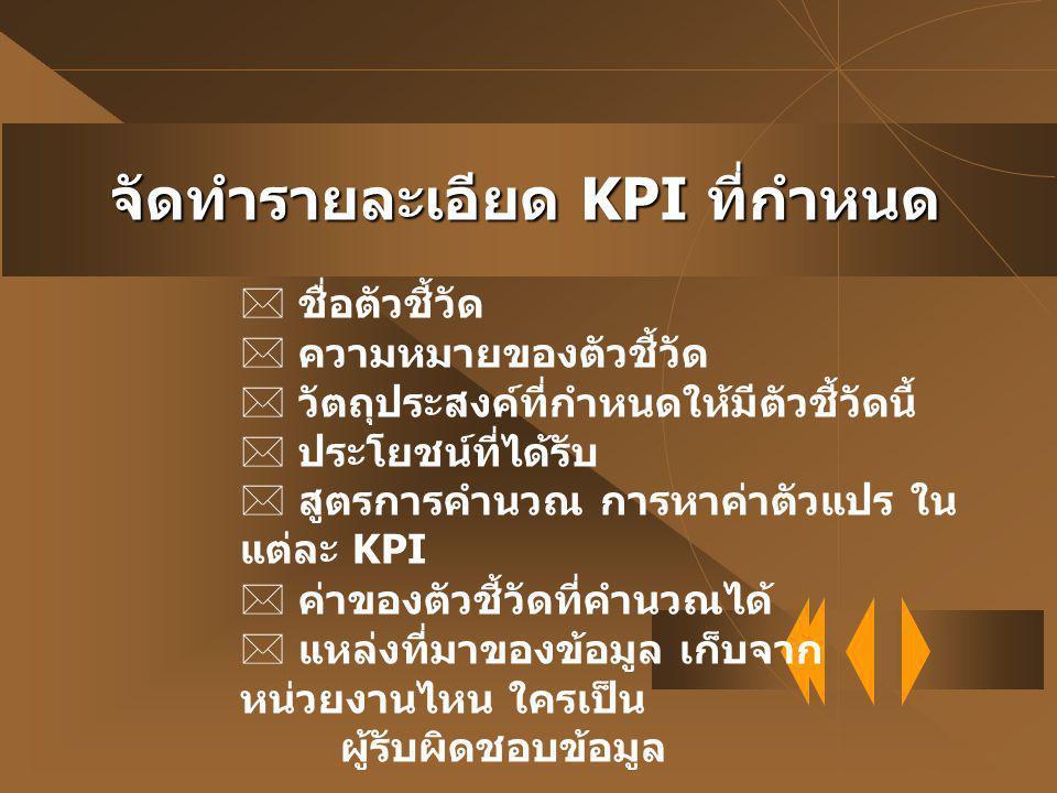 จัดทำรายละเอียด KPI ที่กำหนด
