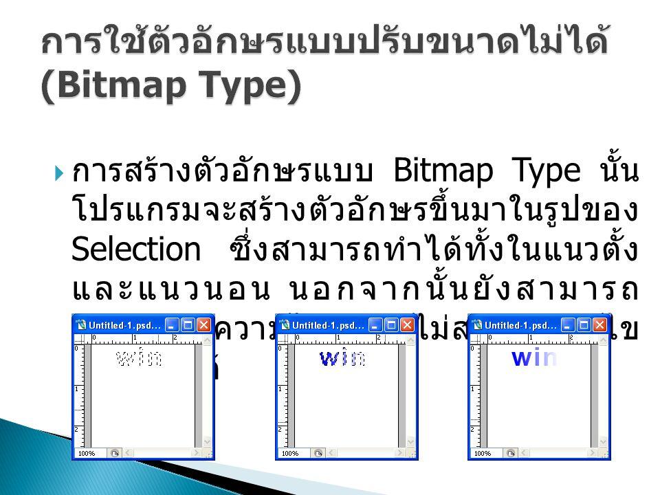 การใช้ตัวอักษรแบบปรับขนาดไม่ได้ (Bitmap Type)