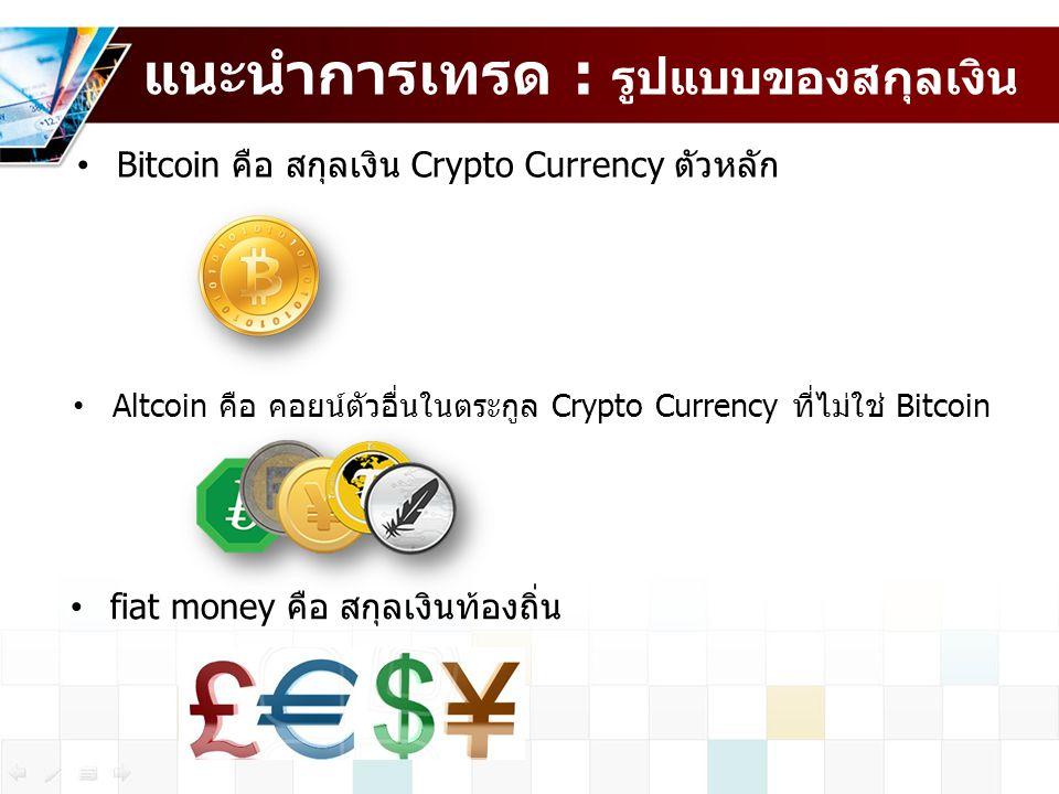 แนะนำการเทรด : รูปแบบของสกุลเงิน