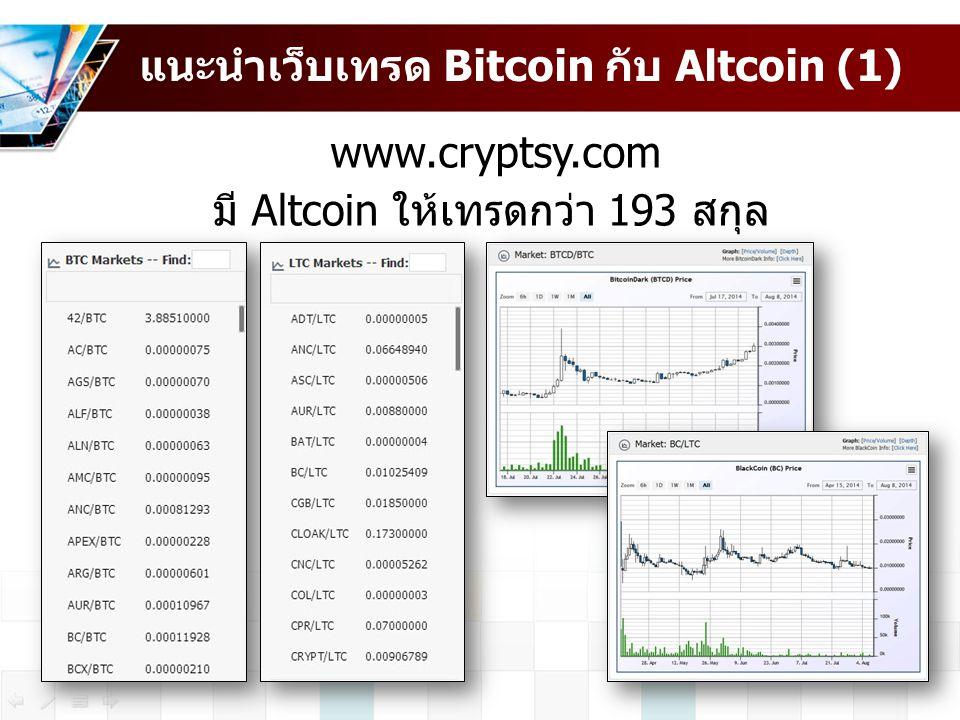 แนะนำเว็บเทรด Bitcoin กับ Altcoin (1)