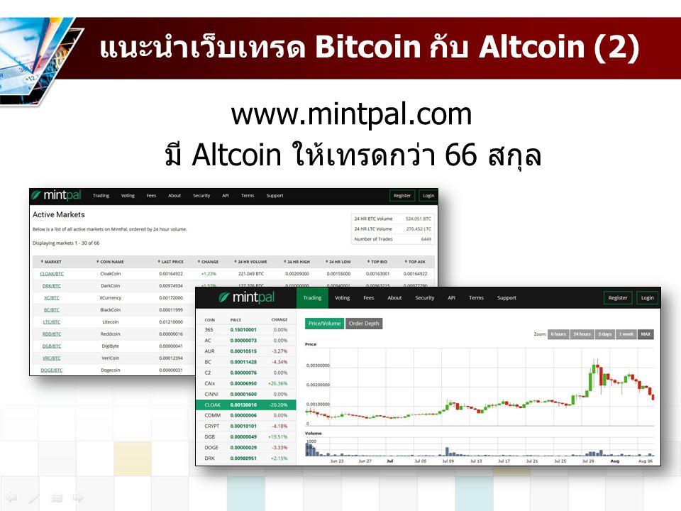 แนะนำเว็บเทรด Bitcoin กับ Altcoin (2)