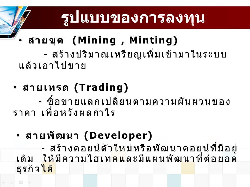 รูปแบบของการลงทุน สายขุด (Mining , Minting)