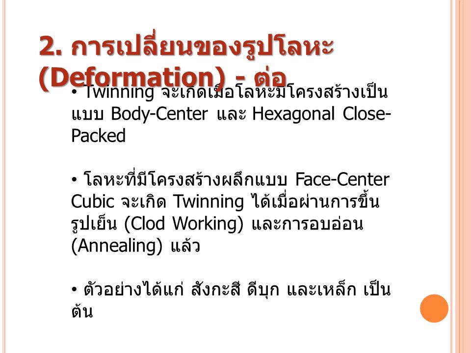 2. การเปลี่ยนของรูปโลหะ(Deformation) - ต่อ