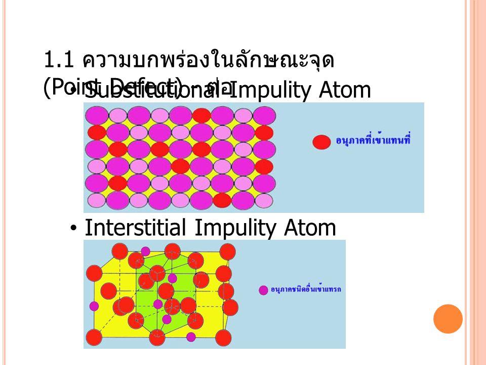 1.1 ความบกพร่องในลักษณะจุด (Point Defect) - ต่อ
