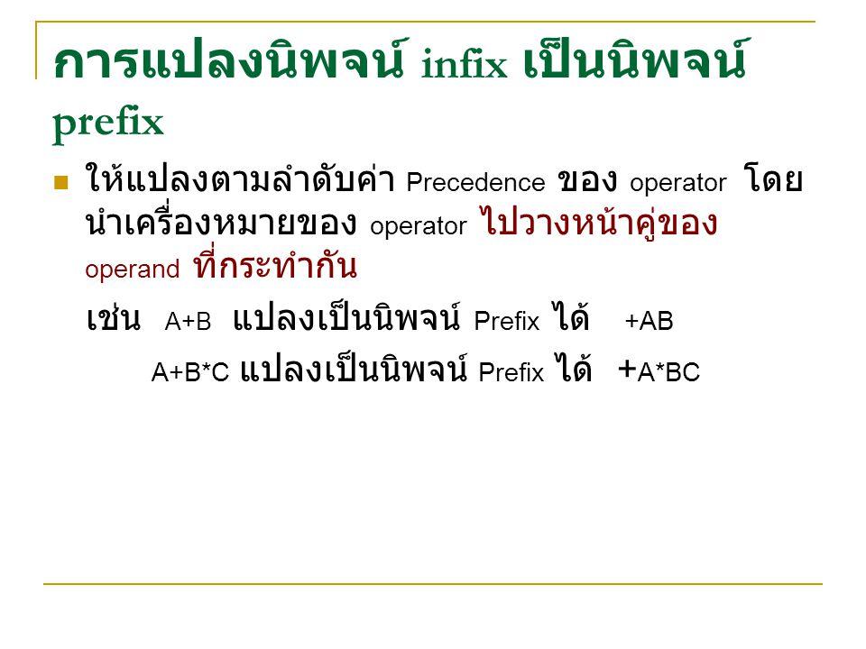 การแปลงนิพจน์ infix เป็นนิพจน์ prefix