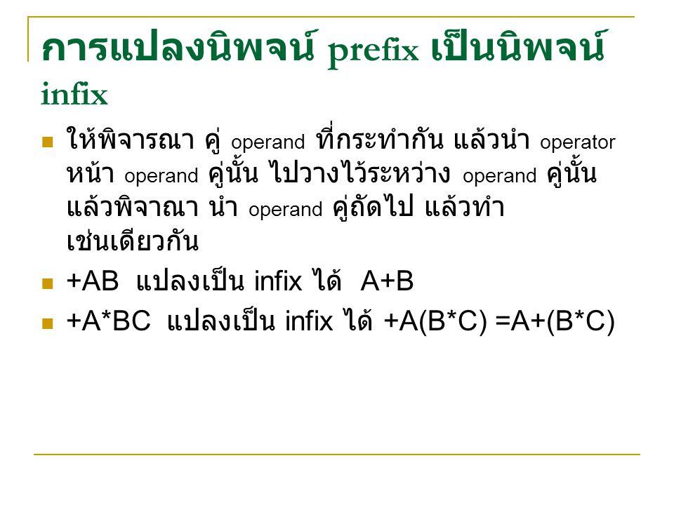 การแปลงนิพจน์ prefix เป็นนิพจน์ infix