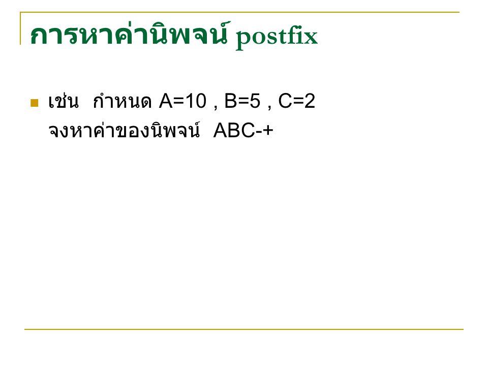 การหาค่านิพจน์ postfix