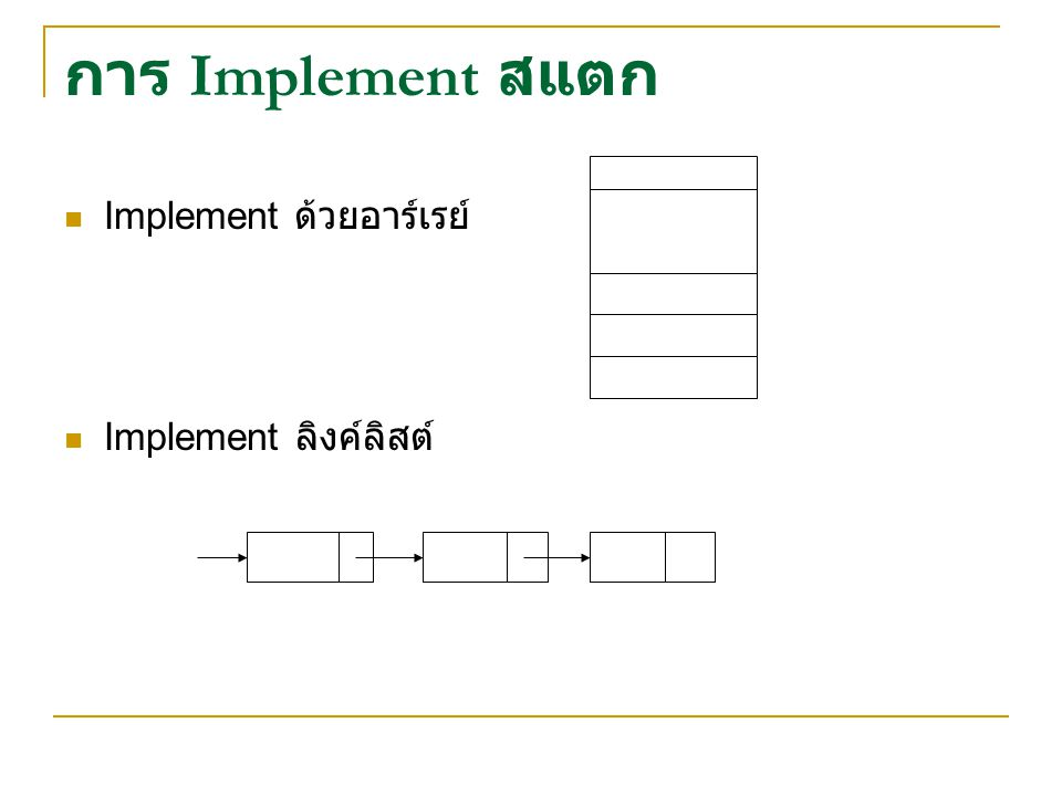 การ Implement สแตก Implement ด้วยอาร์เรย์ Implement ลิงค์ลิสต์