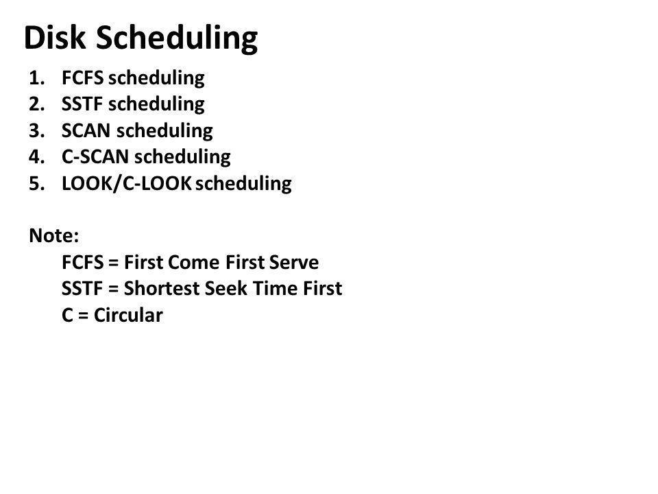 Disk Scheduling FCFS scheduling SSTF scheduling SCAN scheduling