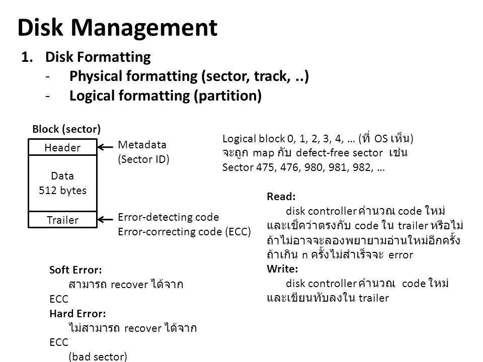 Disk Management 1. Disk Formatting