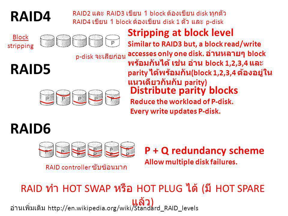 RAID4 RAID2 และ RAID3 เขียน 1 block ต้องเขียน disk ทุกตัว RAID4 เขียน 1 block ต้องเขียน disk 1 ตัว และ p-disk.