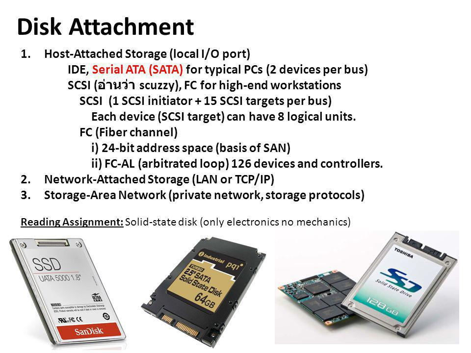 Disk Attachment Host-Attached Storage (local I/O port)
