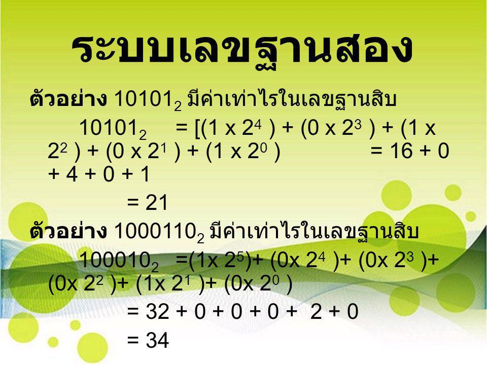 ระบบเลขฐานสอง ตัวอย่าง 101012 มีค่าเท่าไรในเลขฐานสิบ
