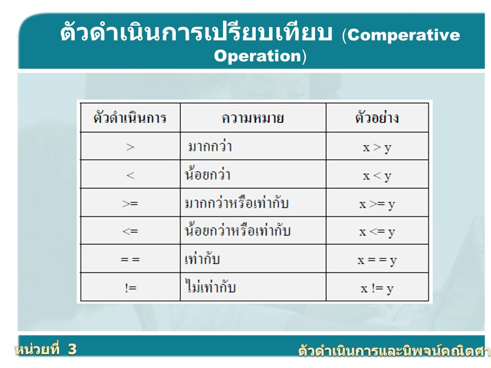 ตัวดำเนินการเปรียบเทียบ (Comperative Operation)