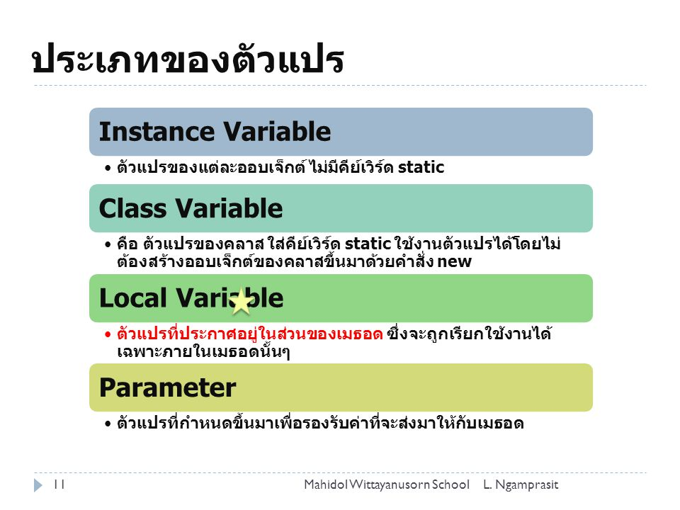 ประเภทของตัวแปร Instance Variable Class Variable Local Variable