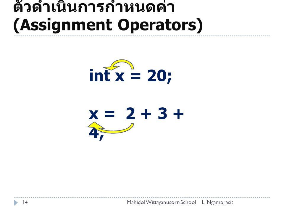 ตัวดำเนินการกำหนดค่า (Assignment Operators)
