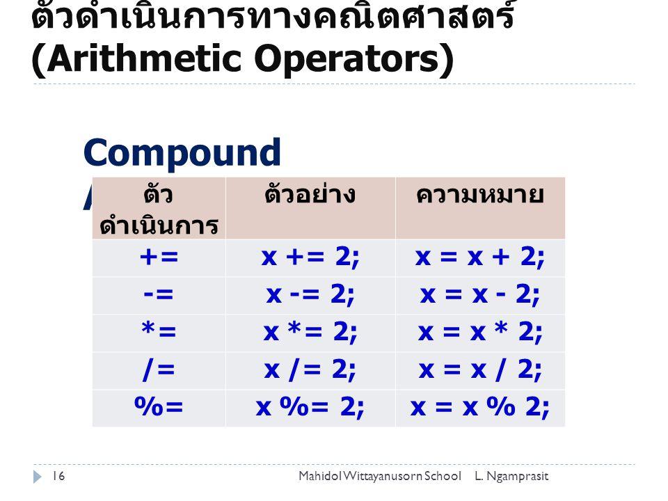 ตัวดำเนินการทางคณิตศาสตร์ (Arithmetic Operators)