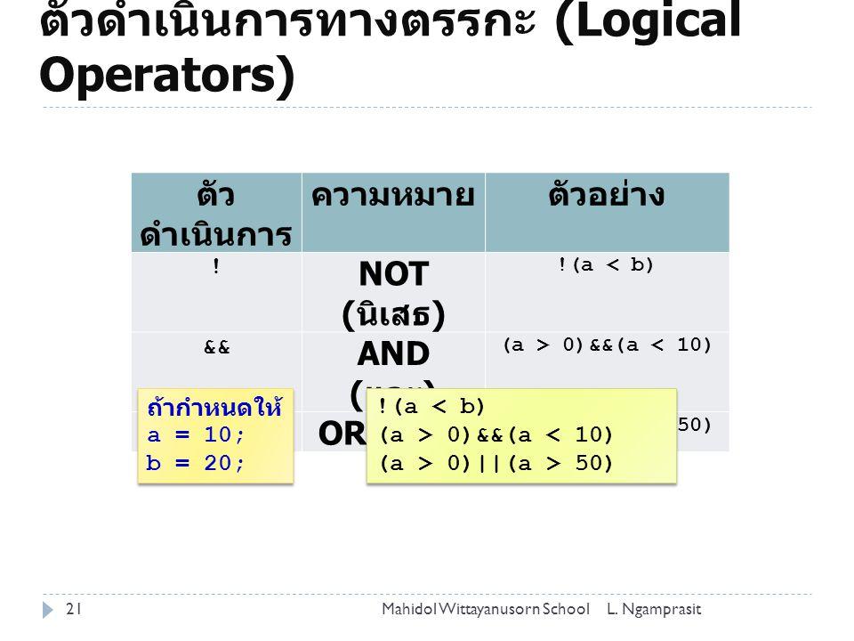 ตัวดำเนินการทางตรรกะ (Logical Operators)