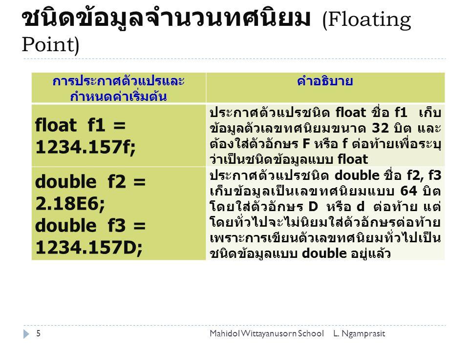 ชนิดข้อมูลจำนวนทศนิยม (Floating Point)