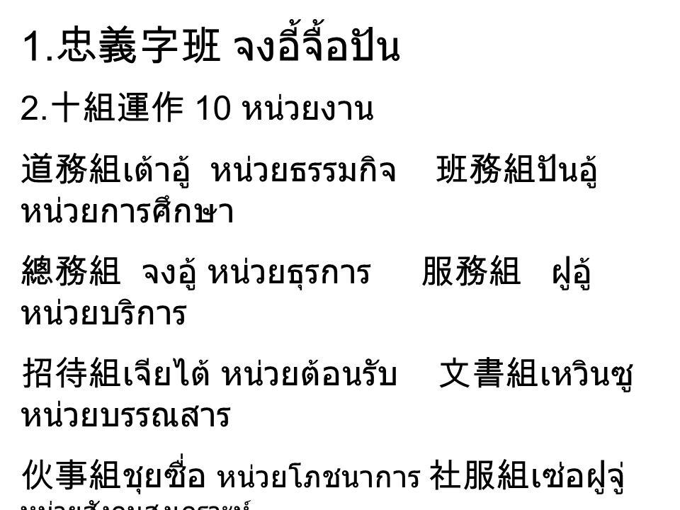 1.忠義字班 จงอี้จื้อปัน 2.十組運作 10 หน่วยงาน