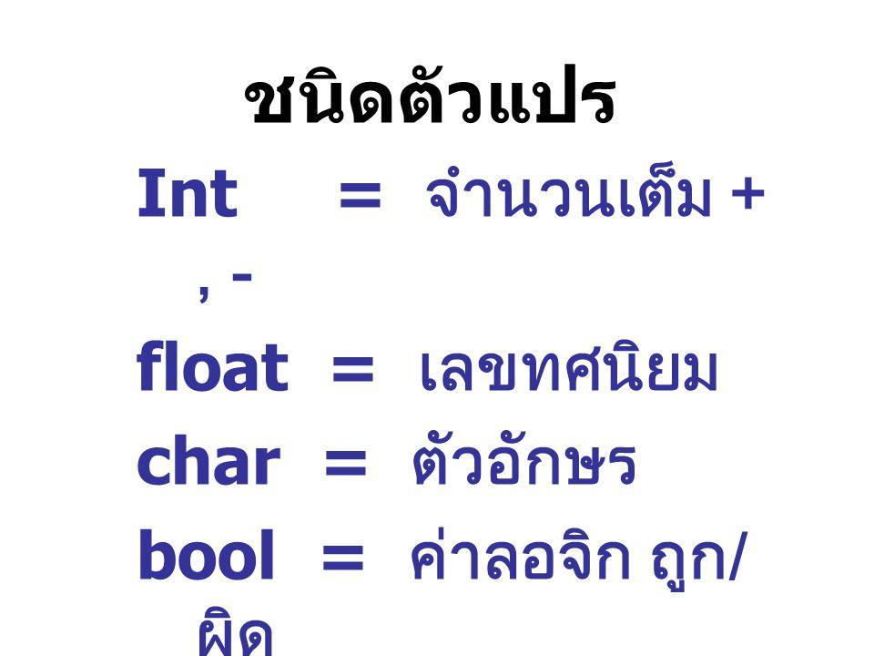 ชนิดตัวแปร Int = จำนวนเต็ม + , - float = เลขทศนิยม char = ตัวอักษร