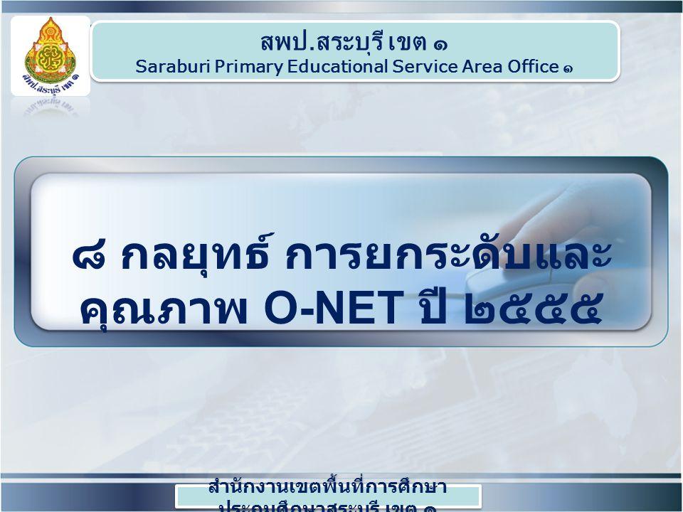 ๘ กลยุทธ์ การยกระดับและคุณภาพ O-NET ปี ๒๕๕๕