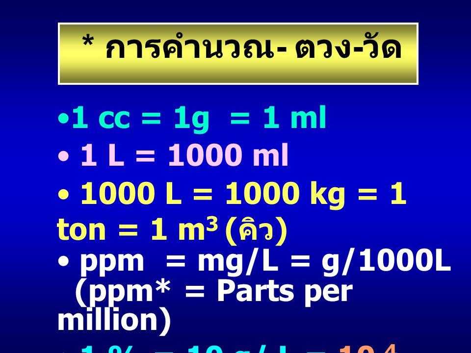 * การคำนวณ- ตวง-วัด 1 cc = 1g = 1 ml 1 L = 1000 ml
