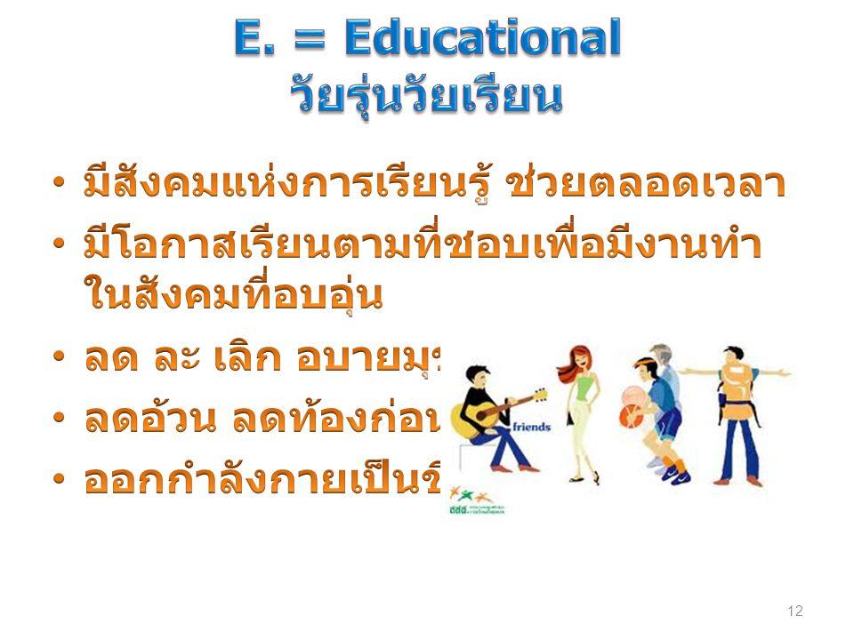 E. = Educational วัยรุ่นวัยเรียน