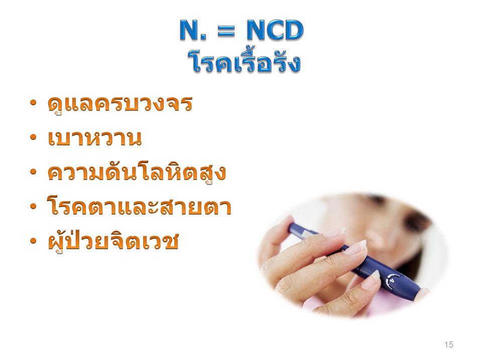 N. = NCD โรคเรื้อรัง ดูแลครบวงจร เบาหวาน ความดันโลหิตสูง โรคตาและสายตา