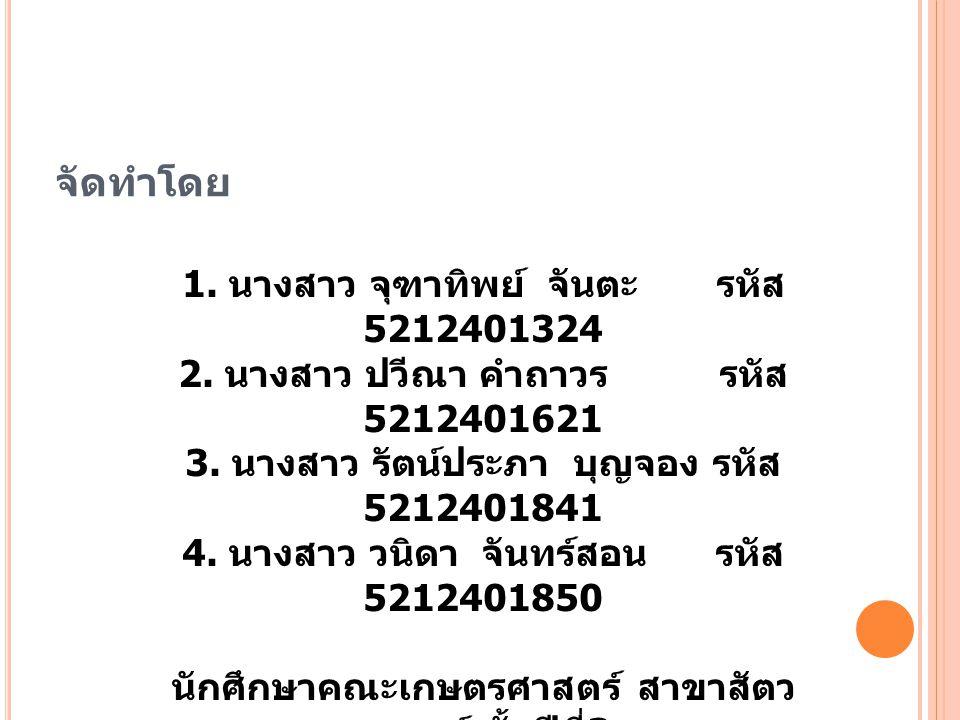 จัดทำโดย 1. นางสาว จุฑาทิพย์ จันตะ รหัส 5212401324