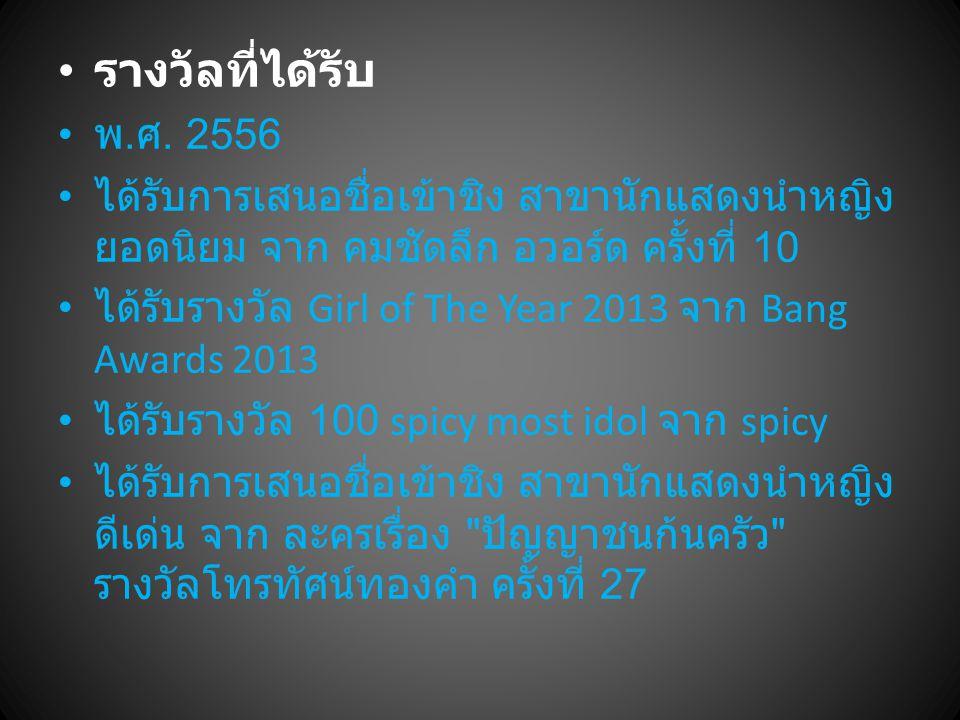 รางวัลที่ได้รับ พ.ศ. 2556. ได้รับการเสนอชื่อเข้าชิง สาขานักแสดงนำหญิงยอดนิยม จาก คมชัดลึก อวอร์ด ครั้งที่ 10.